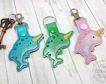 Narwhal Keychain - Key Fob - Glitter - Rainbow - Multiple Color Options!