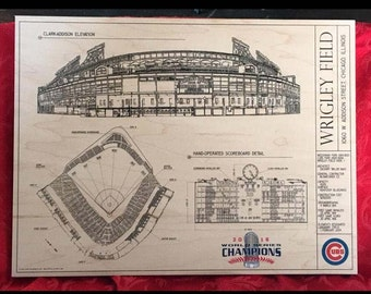 Chicago Cubs architectural print  on birch wood