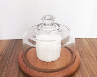 Vintage Wood and Glass Cheese Dome