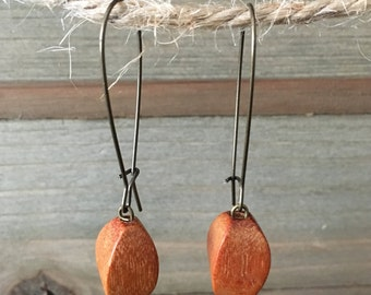 Boho Dangle Earrings, Wooden Beads, Antique Brass