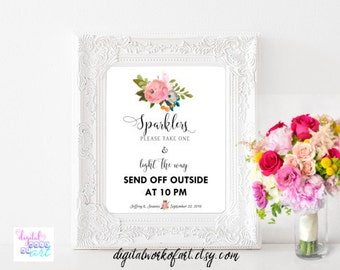 Sparklers Send Off Sign Template, Editable Sparkler Sign, Send off Sign Printable Wedding Sign Calligraphy, Watercolor Floral, editable PDF