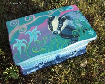 Badger Jewelry Box - Hand Painted, Wooden Vintage Box, OOAK
