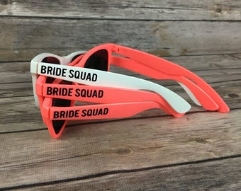 Bride Squad ADULT Personalized Sunglasses, Bachelorette Party Favor, Bach Bash Favor, Girls Weekend, Last Night Out, Bridal Party Gift