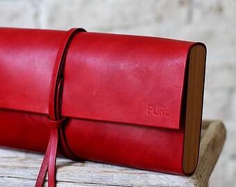 Leather clutch MINI RED