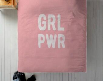 GRLPWR Duvet, Girl Power Duvet, Pink Duvet, Cute Bedding, Cute Duvet Cover, Queen Duvet, King Duvet, Twin Duvet, Duvet with Words, Feminist