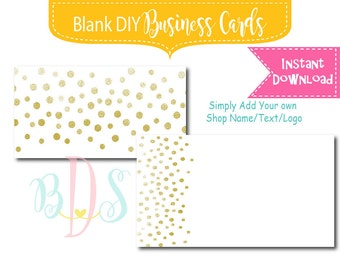 Gold Confetti Instant Download Blank DIY Business Card design  template Blank Add your own text or logo