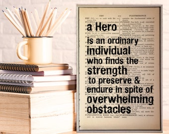 """Superman Quote. """"A Hero Is an Individual who finds the strength to preserve & endure..."""" Vintage Dictionary Book Page Print. Superhero Quote"""