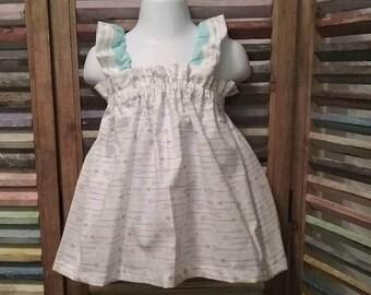 Girls dress, Little girls dress, Toddler dress, Girls arrow sundress, Girls beach dress,  Girls spring or summer dress, size 2T, #206