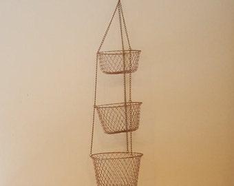 Tiered Wire Basket~Vintage Kitchen Wire Mesh 3 Tiered Hanging Baskets~Copper Tone Wire Mesh Hanging Baskets