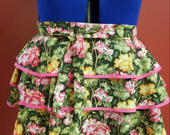 3 Tiered Flowered Apron