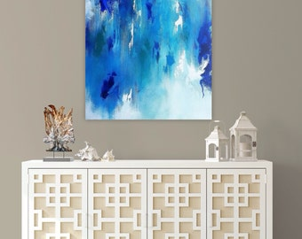 Original abstract painting, blue, white, green, light blue, 24x30 inch, acrylic paint, varnish, gallery wrapped canvas