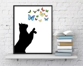 Cat print, Cat is playing with butterflies, Cat wall art, Butterflies print, Kids wall decor, Minimalist art, Print it out, GIFT UNDER 10
