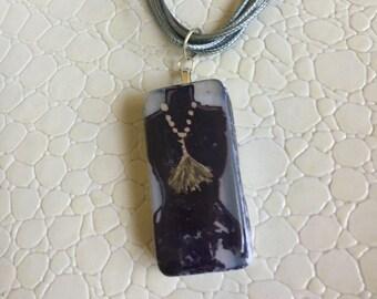 Custom Painted Alcohol Ink Pendant w Black dress & tassel necklace