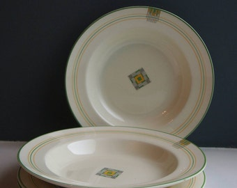 Vintage Minton China Bowls and Plates, Retro Pottery Soup Bowls and Plate Set, Vintage Crockery, Yellow and Green, Art Deco Style