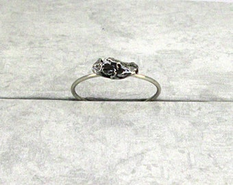 Meteorite Ring Stackable Solitaire Campo del Cielo Sterling Silver size 8 3/4
