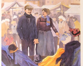 Vintage poster/poster St. Nicholas market's Hertogenbosch-Herman moerkerk-Holland-Print