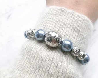Beads Bracelet / blue silver / elastic / bracelet / beads / unique