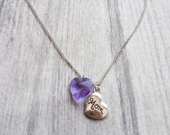 Mom charm necklace, Mom heart necklace, Mom necklace