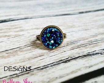 Metallic Blue Druzy Ring