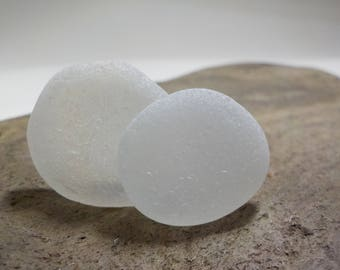 "Genuine Perfectly smoothed flawless White Round Sea Glass 2 pieces-0.9""-Rare Sea Glass-Pendant size Sea Glass#443#"