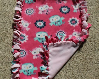 """Pink Owl Fleece Tied """"Little Lovie"""" blanket (Approximately 27 inches x 20 inches)"""