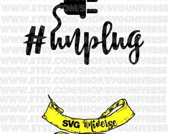 Unplug hashtag SVG Cut files - Dxf - Eps - SVG - Pdf - Png