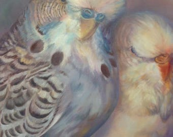 Budgie Greeting Card Romantic Art Parakeet Budgerigar  'A Subtle Pair' From Budgerigardener Oil Painting Old Master Fine Art