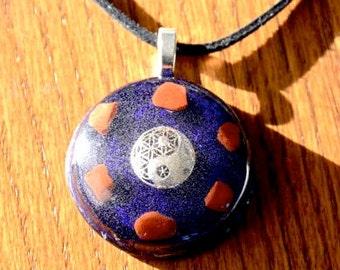 Orgone Pendant  Necklace Yin Yang Blue Gemstone Crystal Healing Energy Jewerly EMF Protection