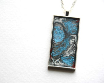 Abstract Paint Necklace, Colorful Art Pendant, Modern Necklace, Rectangle, Square, Silver