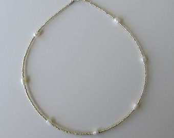Gold Beaded Choker with Freshwater Pearls