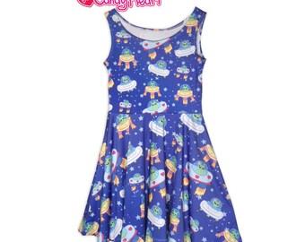 Alien Dress Uchuu Kei UFO Dress Aliens Skater Dress In Stock & MTO Sz Xs-5XL