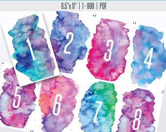 Watercolor Live Number Cards(1-999) | Live Sale Numbers, Number Tags, Facebook live numbers