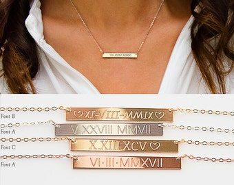 Roman Numerals Necklace, Roman Dates Bar Necklace, Custom Engraved Bar, Gold Filled, Silver, Rose Gold, Silver bar B434h