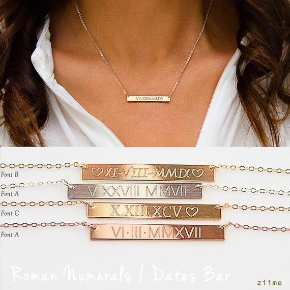 Roman Numerals Necklace Roman Dates Bar Necklace Custom