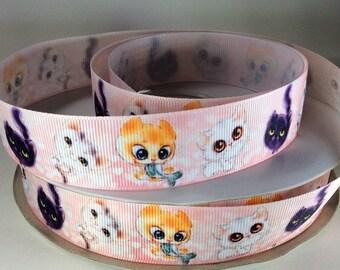"7/8"" Big Eyed Cats - Grosgrain Ribbon"