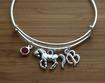 Horse Lover Bangle, Adjustable Personalized Bangle, Layered Bangle Horse, Birthday Gift, Birthstone Initial Bracelet, Dangling Charms