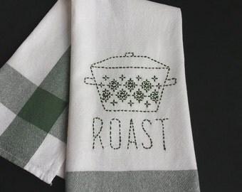 Hand embroidered sashiko kitchen towel , sashiko embroidery , Japanese embroidery green sashiko