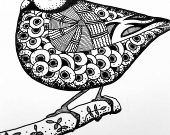 Blue tit illustration, Balck & White ink drawing, Nursery Abstract Zen animal art