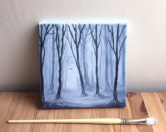 Painting On Canvas - Winter Woods - Hand Painted Forest Woodland Oil Painting