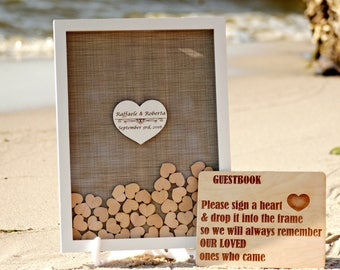 Wedding guest book alternative,Wedding guestbook,Guest book hearts,Rustic Wedding guest book,Drop box Guest Book, Burlap wedding guest book
