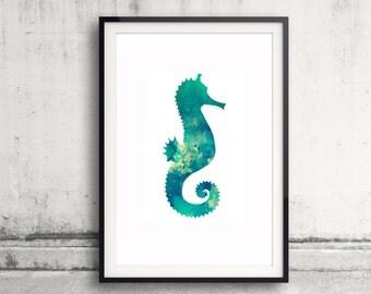 Seahorse Watercolor Print - Seahorse Print - Watercolor Art - Nursery Wall Art - Bathroom Decor - Animal Art - Watercolor Painting Poster