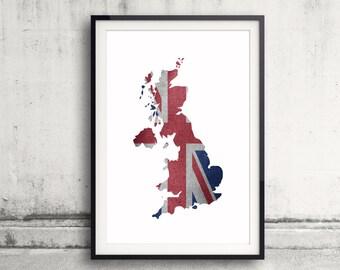United Kingdom Map Art, United Kingdom Map Print, UK Flag Wall Art, Country Flag Poster, British Flag Art, Flag Wall Art, Wall Decor