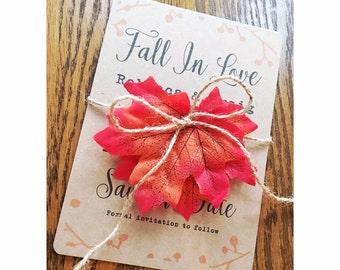 Autumn wedding / save the date / Fall in love / Invitation / Autumn theme wedding / autumn leaves / craft invite