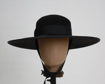 Wide Brimmed Hat, Gaucho, Womens Black Felt Hat