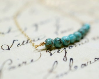 Tiny Turquoise and Gold Necklace, Genuine Turquoise Beaded Bar 14k Gold Chain Simple Minimalist Jewelry