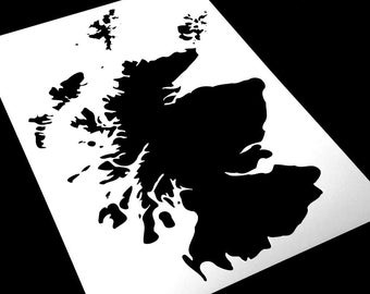 Map Of Scotland Stencil, Various Sizes, Paint Your Own Maps, Includes Orkney and Shetland Isles, 190 Micron Mylar, Reusable, Laser Cut.