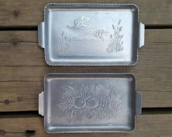 Vintage Decorative Metal Trays- Set of 2- Ducks Over Pond Scene- Fruit Arrangement-Tin/Aluminum- Kitchen/Farmhouse Decorations & Decor