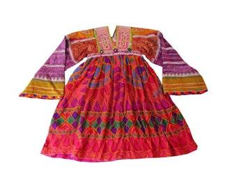 Indian Vintage Banjara Gypsy Dress Tribal Women Frock Dress Vintage Rabari Mirror Work Sindh Lady Top Hand Embroidered Boho Ethnic Topper