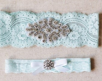 Something blue Wedding Garter Set NO SLIP grip vintage rhinestones pearl lace rhinestone
