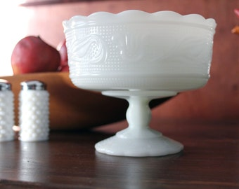 Vintage Milk Glass Bowl Candy Dish Compote Bowl Vase Pedestal Footed EO Brody